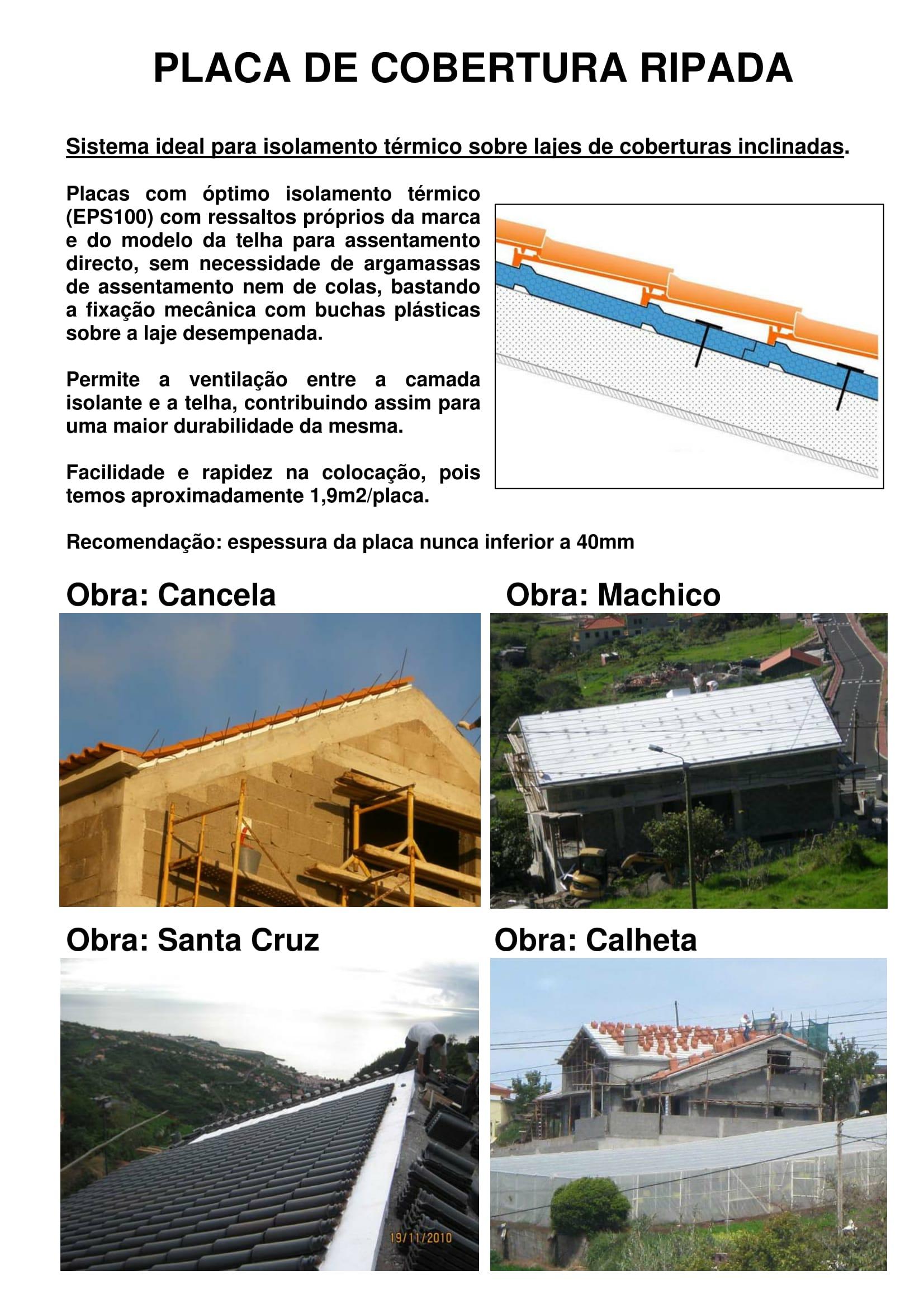 Placa de Cobertura RIPADA - Obras